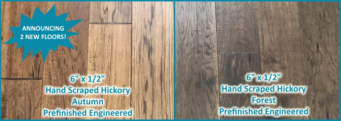 "6"" x 1/2"" Hand Scraped Hickory Prefinished Engineered Hardwood Flooring at Cheap Prices by Hurst Hardwoods"