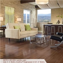 "Somerset Color Collection Plank 3 1/4"" Engineered Oak Metro Brown Wood Flooring"