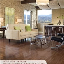 "Somerset Color Collection Plank 5"" Engineered Oak Metro Brown Wood Flooring"