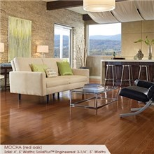 "Somerset Color Collection Plank 5"" Engineered Oak Mocha Wood Flooring"
