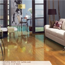 "Somerset High Gloss Collection Strip 3 1/4"" Solid Natural White Oak High Gloss Wood Flooring"