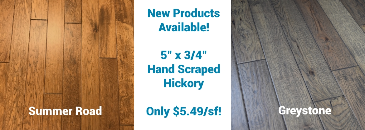 "5"" x 3/4"" Hand Scraped Hickory Greystone & Summer Road Prefinished Solid cheap prices Hurst Hardwoods"
