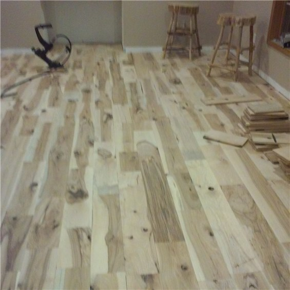Hickory #3 Common Solid Hardwood Flooring installed at cheap prices by Hurst Hardwoods